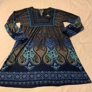 White Mark Dress Soft Blue Paisley Dress L Fall
